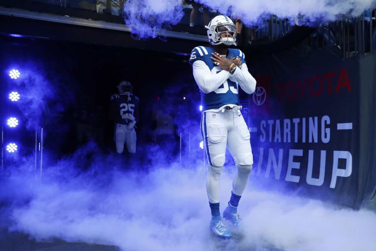 Indianapolis Colts tight end Eric Ebron is introduced during player introductions before the game against the Houston Texans at Lucas Oil Stadium.