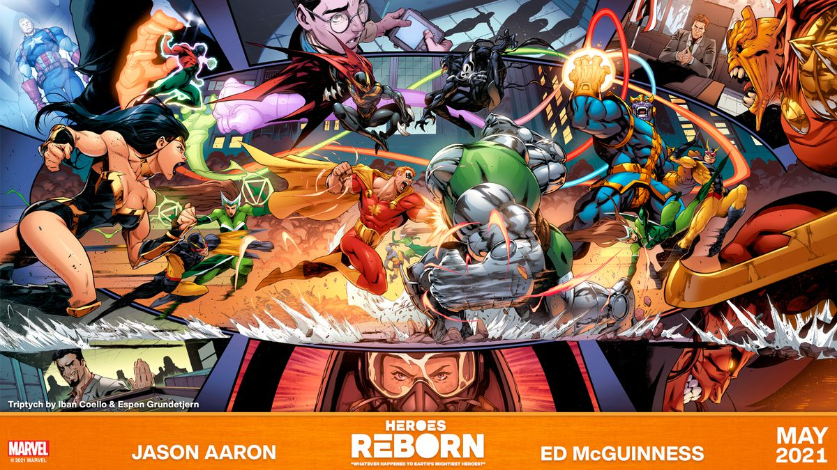 The Squadron Supreme clash with Dr. Juggernaut, Thanos and more villains in promotional art for Marvel Comics' Heroes Reborn event.