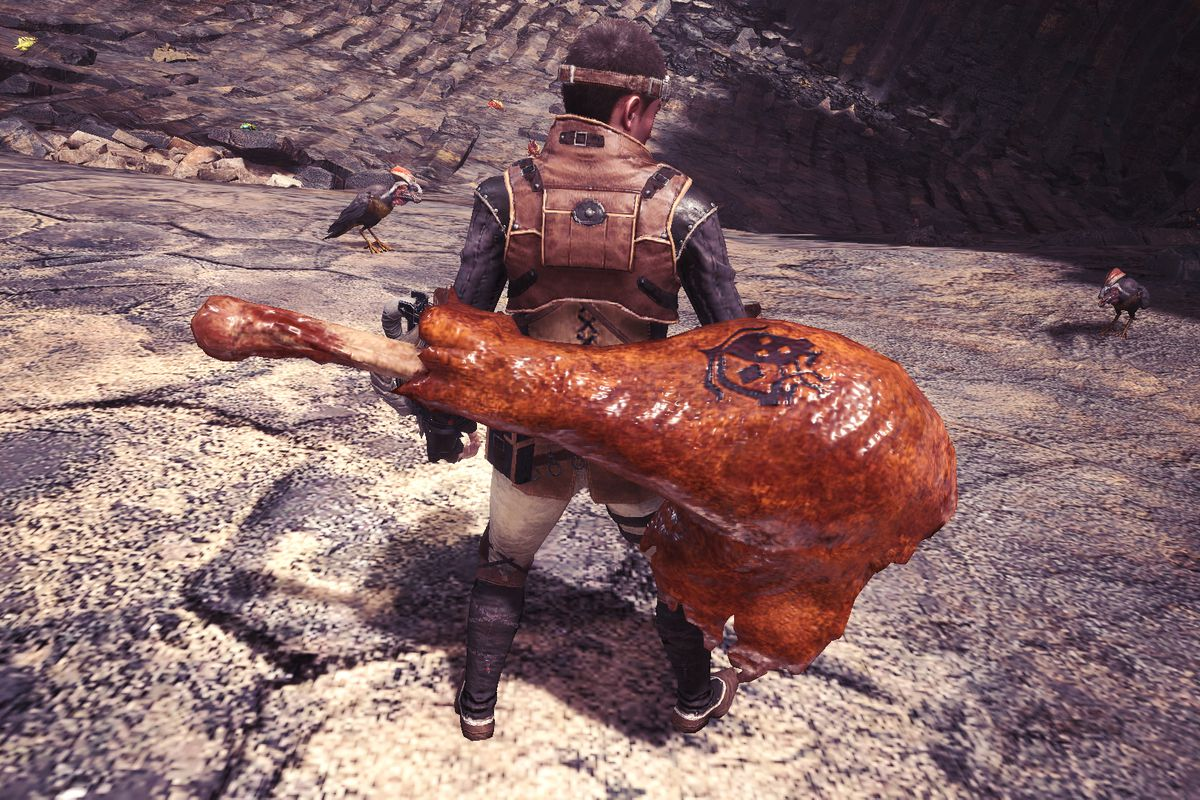 A monster hunter with a giant, glistening chicken drumstick strapped to his back instead of a weapon.