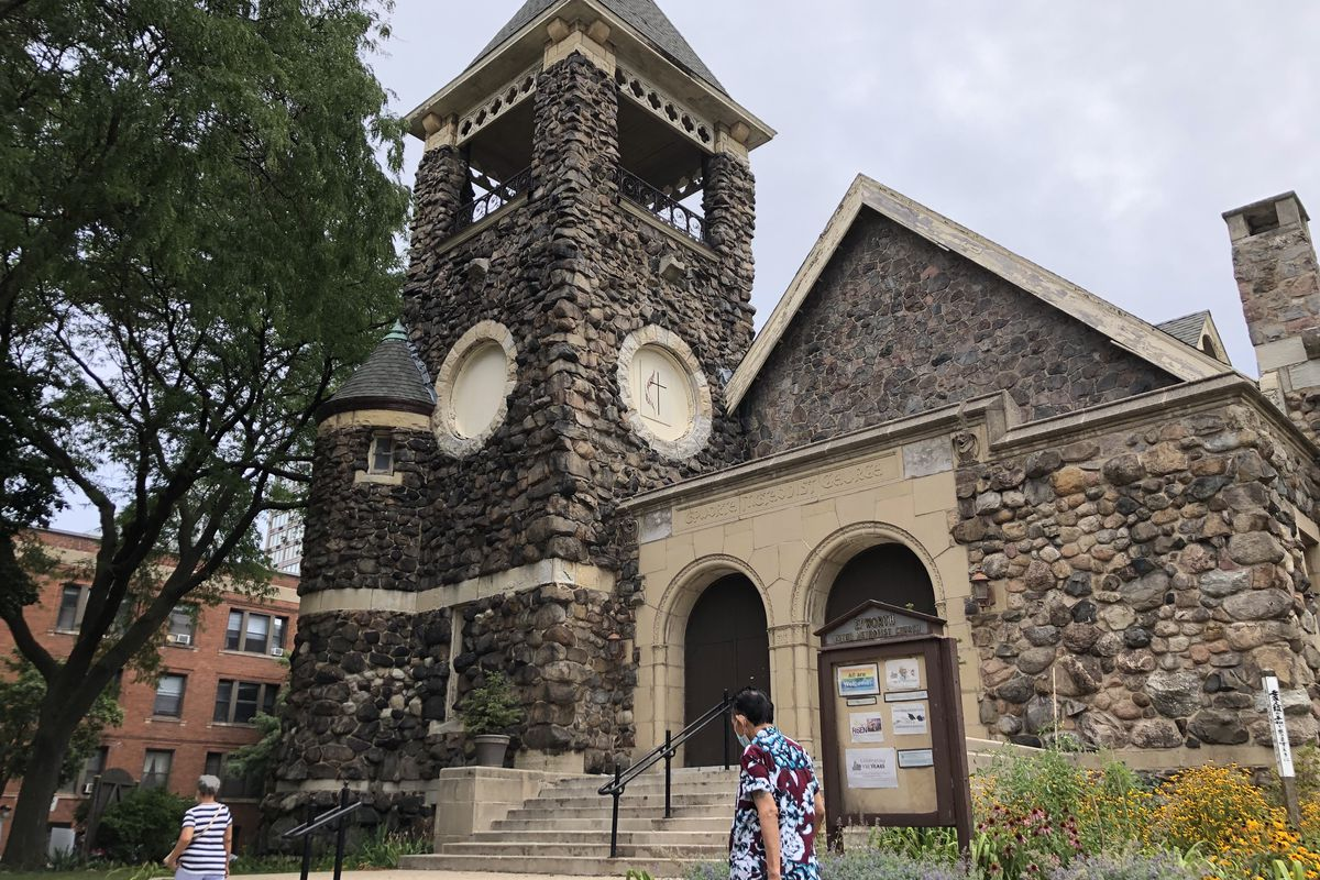 Epworth United Methodist Church, 5253 N. Kenmore Ave., Edgewater, is noted for its exterior walls, which are clad in boulders brought in by barge from Wisconsin via Lake Michigan.