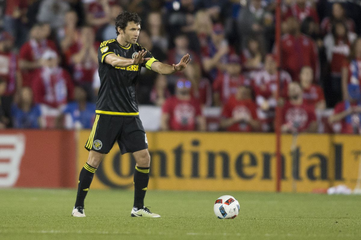 Michael Parkhurst will try to captain Crew SC to its first win of the season at Montreal on Saturday.