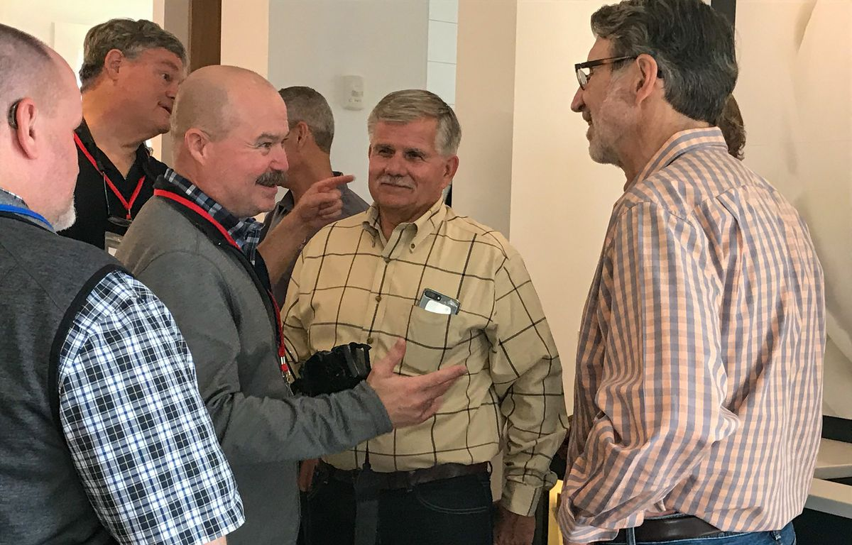 """<p><span style=""""font-size:18px""""><strong>Southern Charm</strong></span></p> <p>Insider Scott Wright (2<sup>nd</sup> from left) flew in all the way from Denton, TX with his guest Charles Brian McCoy (left), and we couldn't be happier that they made it. Scott captured the attention of Norm and Tommy and reveled in the opportunity of a lifetime to tell them his story and ask for some pointers. """"The memory of watching Norm, Tommy andRichard over the years is inextricably entwined with my memories of"""