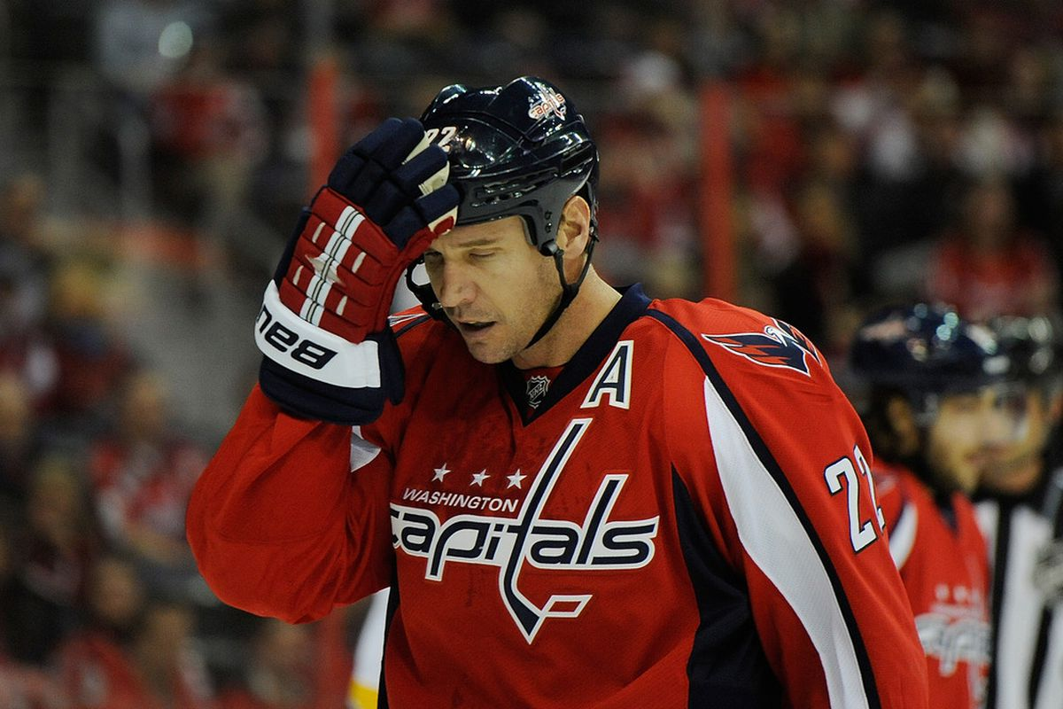 WASHINGTON, DC - DECEMBER 20:  Mike Knuble #22 of the Washington Capitals reacts after a play against the Nashville Predators during the first period at Verizon Center on December 20, 2011 in Washington, DC.  (Photo by Patrick McDermott/Getty Images)