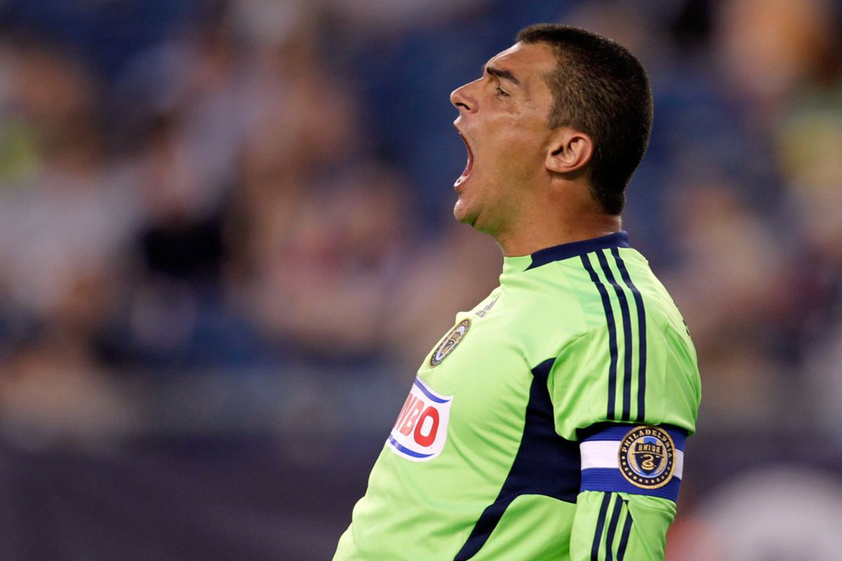 FOXBORO, MA - JULY 17: Faryd Mondragon #1 of the Philadelphia Union reacts during a game against the New England Revolution at Gillette Stadium on July 17, 2011 in Foxboro, Massachusetts. (Photo by Jim Rogash/Getty Images)