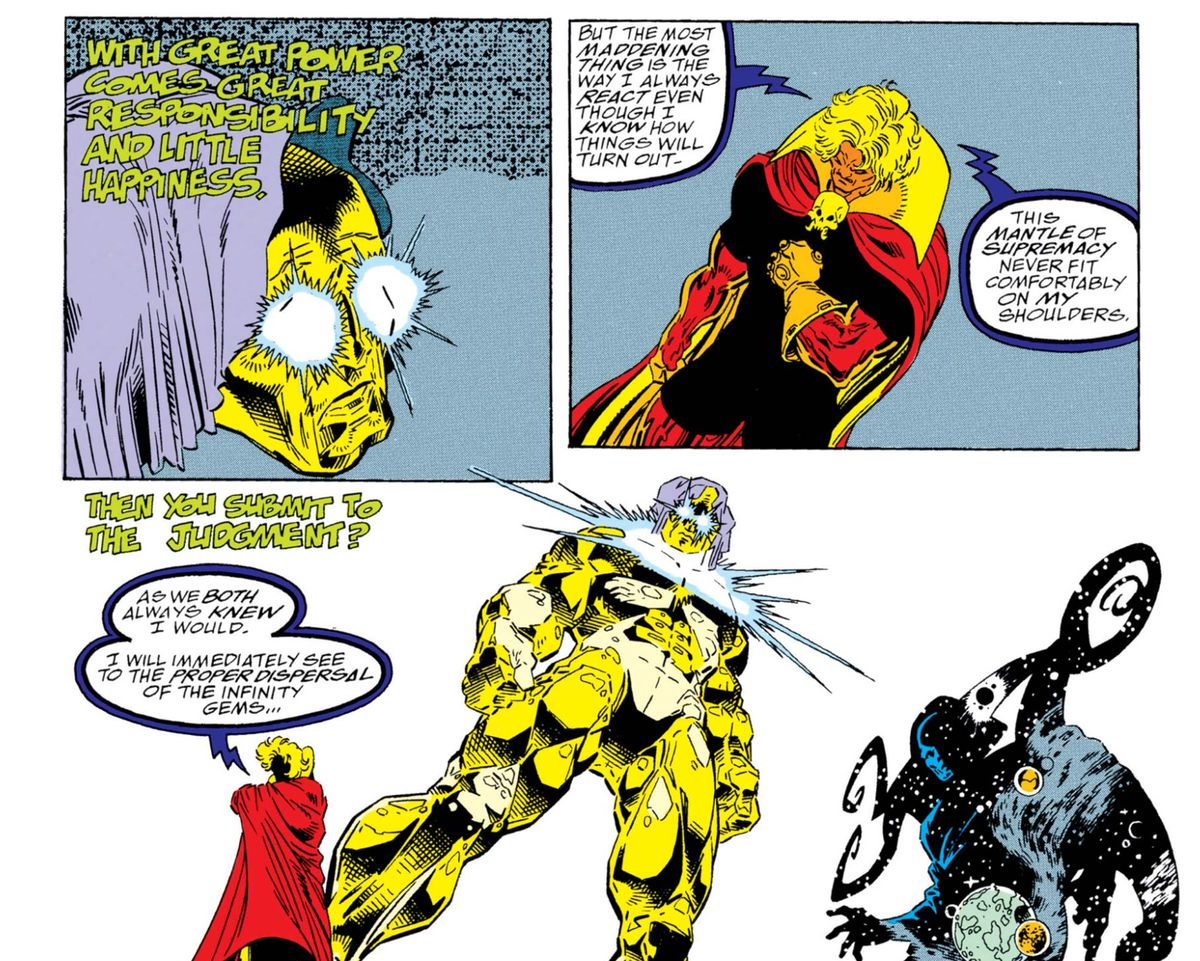 The Living Tribunal (the big gold guy), Adam Warlock (in the red cape), and Eternity in Warlock and the Infinity Watch #1, Marvel Comics (1992).