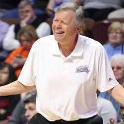San Antonio Stars' head coach Dan Hughes doesn't agree with a call.