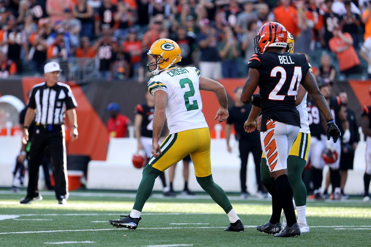 Mason Crosby #2 of the Green Bay Packers reacts after kicking the game winning field goal during overtime against the Cincinnati Bengals at Paul Brown Stadium on October 10, 2021 in Cincinnati, Ohio.
