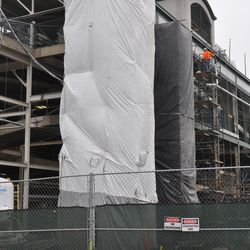 Covered scaffolding on west side of ballpark