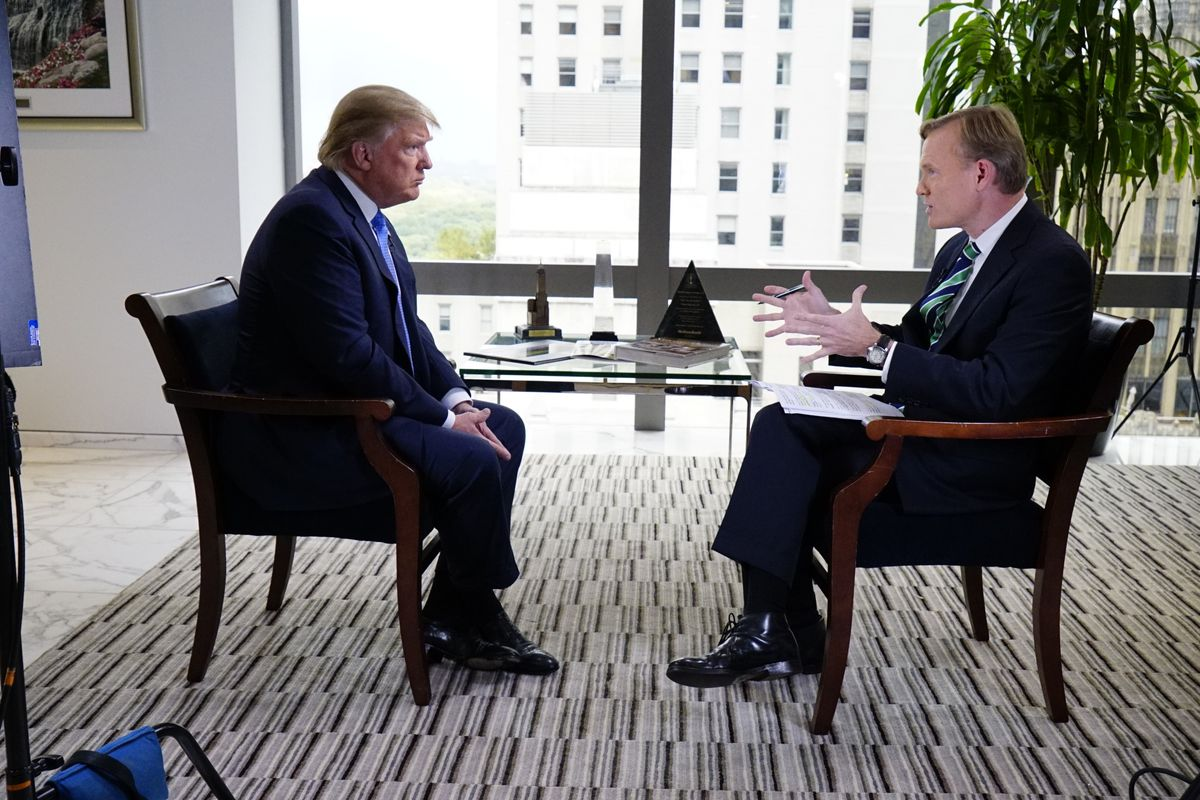 Trump and Dickerson facing each other