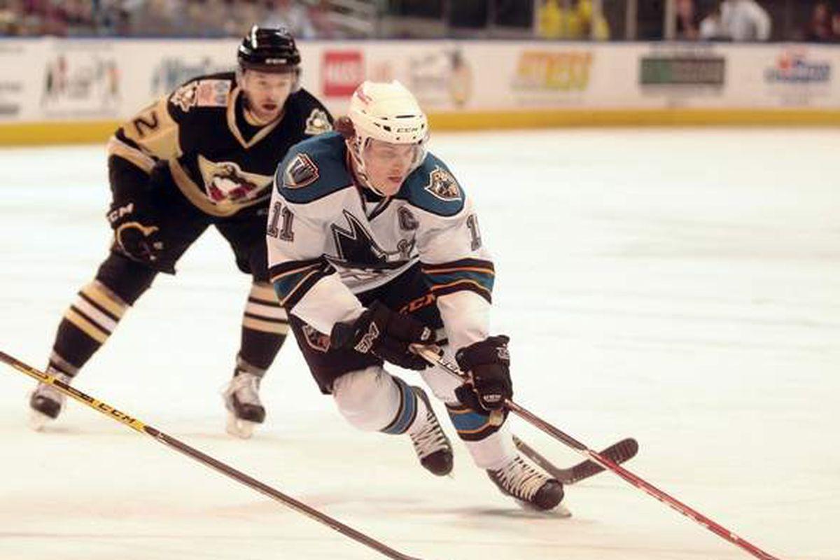 Worcester Sharks captain Bryan Lerg scored a goal against his former team, the Wilkes-Barre/Scranton Penguins, during Saturday night's game at the DCU Center (Steve Lanava/Telegram.com).