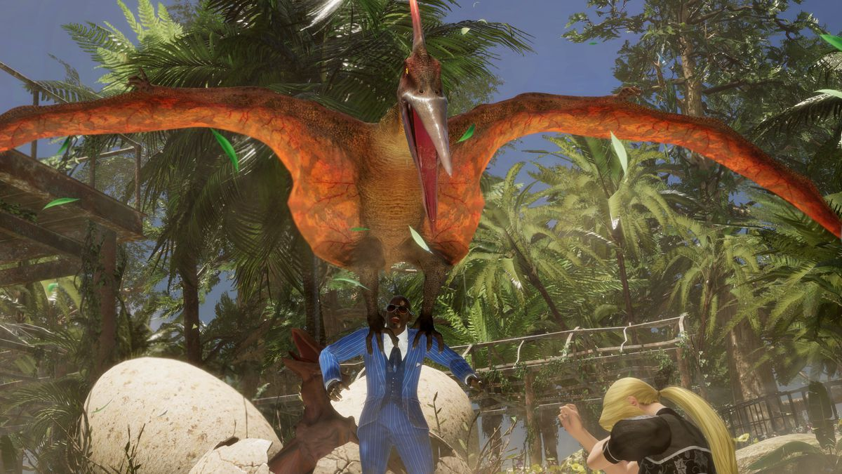 Zack is lifted by an angry pterodactyl, a Lost Paradise stage gimmick, in a screenshot from Dead or Alive 6