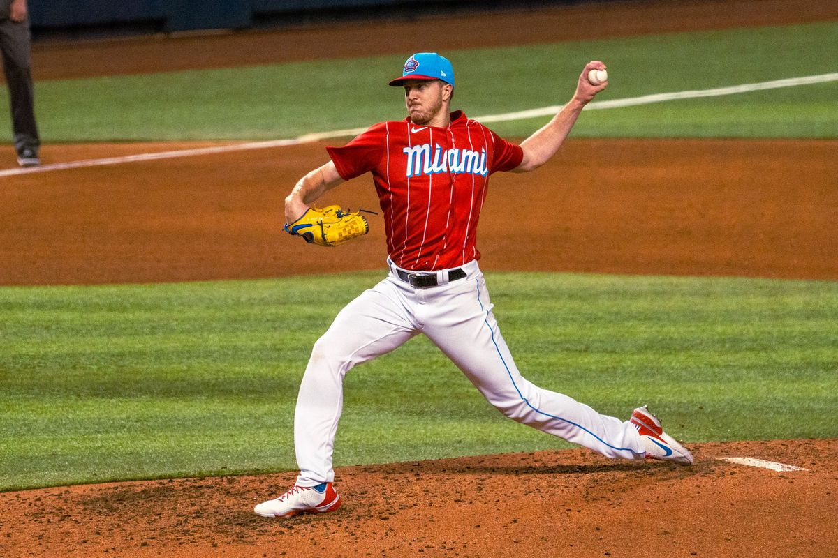 Marlins left-handed pitcher Trevor Rogers on the mound in the team's Havana Sugar Kings-inspired City Connect uniform