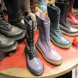 Dr. Martens, the shoe shop where serious work boots come in lavender too.