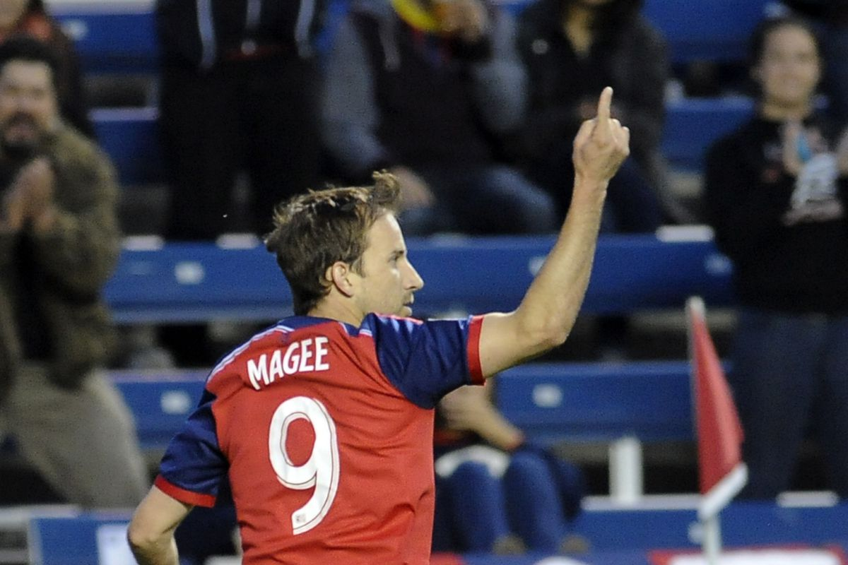 Mike Magee let's everyone know what number he is and it's not No. 9. It's No. 1.
