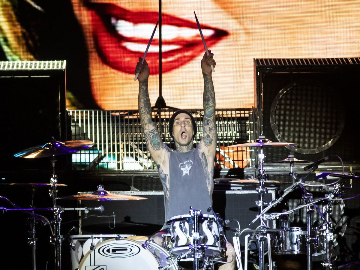 Travis Barker, of Blink 182, performs on day one of Riot Fest in Douglas Park, Friday night, Sept. 13, 2019.
