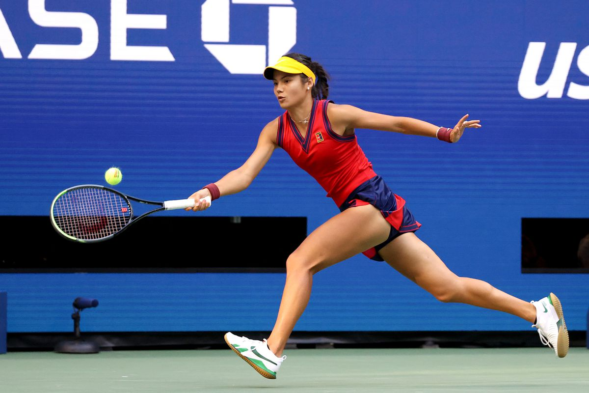Emma Raducanu of Great Britain returns the ball in the second set against Leylah Annie Fernandez of Canada during their Women's Singles final match on Day Thirteen of the 2021 US Open at the USTA Billie Jean King National Tennis Center on September 11, 2021 in the Flushing neighborhood of the Queens borough of New York City.