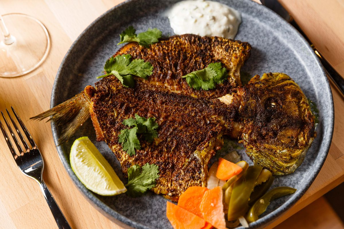 Curry fish fry raita with spicy pickles