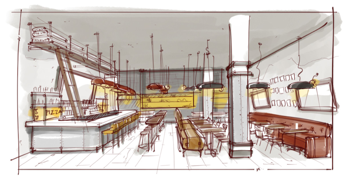 A rendering of the forthcoming restaurant's interior.