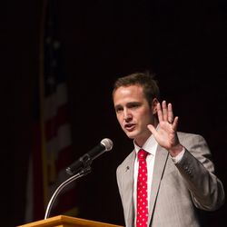 Paul Fife makes five points to the delegates during his campaign speech for the vote of Republican delegates during the GOP convention at Timpview High School in Provo on Saturday, June 17, 2017.