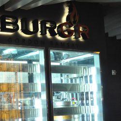 The BurGR logo above the keg cabinet.
