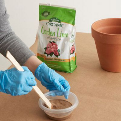 Garden Lime Mixture With Water To Age Terracotta Pot