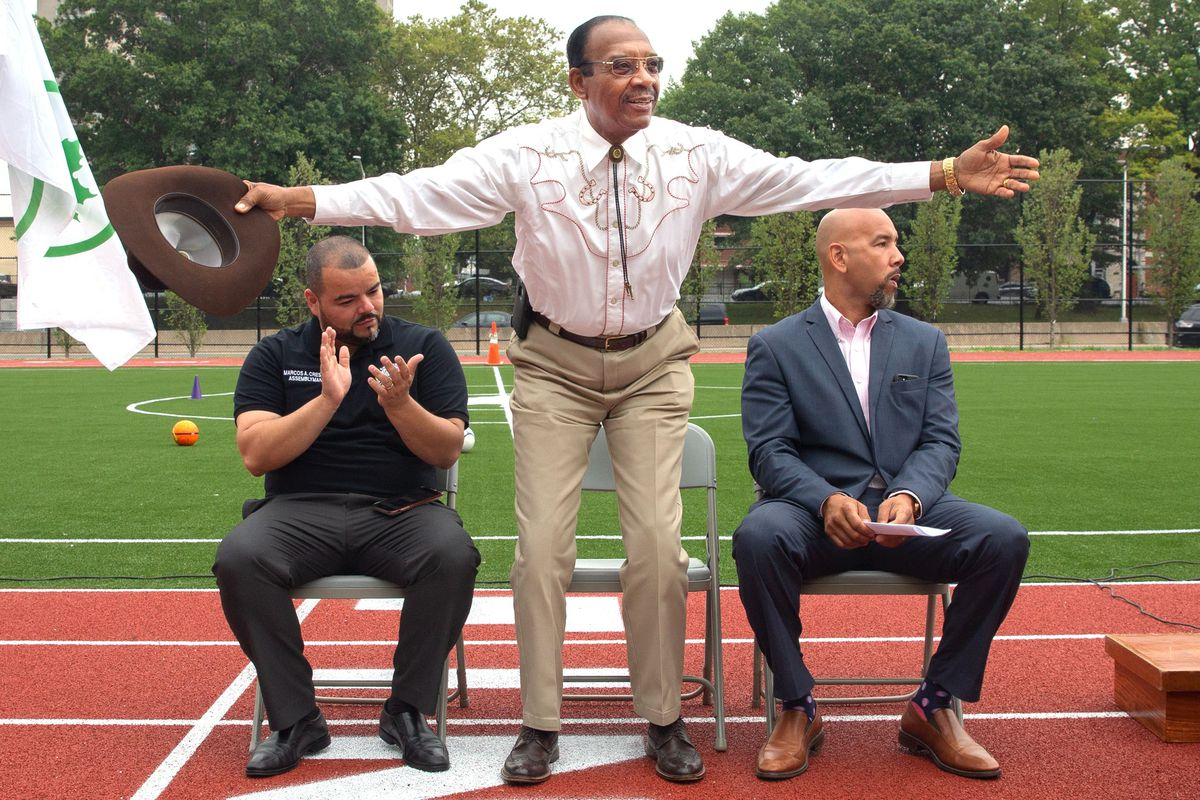 Councilmember Rubén Díaz Sr. attends a ribbon-cutting ceremony at Parque de los Niños in Soundview with his son, Bronx Borough President Rubén Díaz Jr. (right), and State Assemblymember Marcos Crespo, on Aug. 13, 2019.