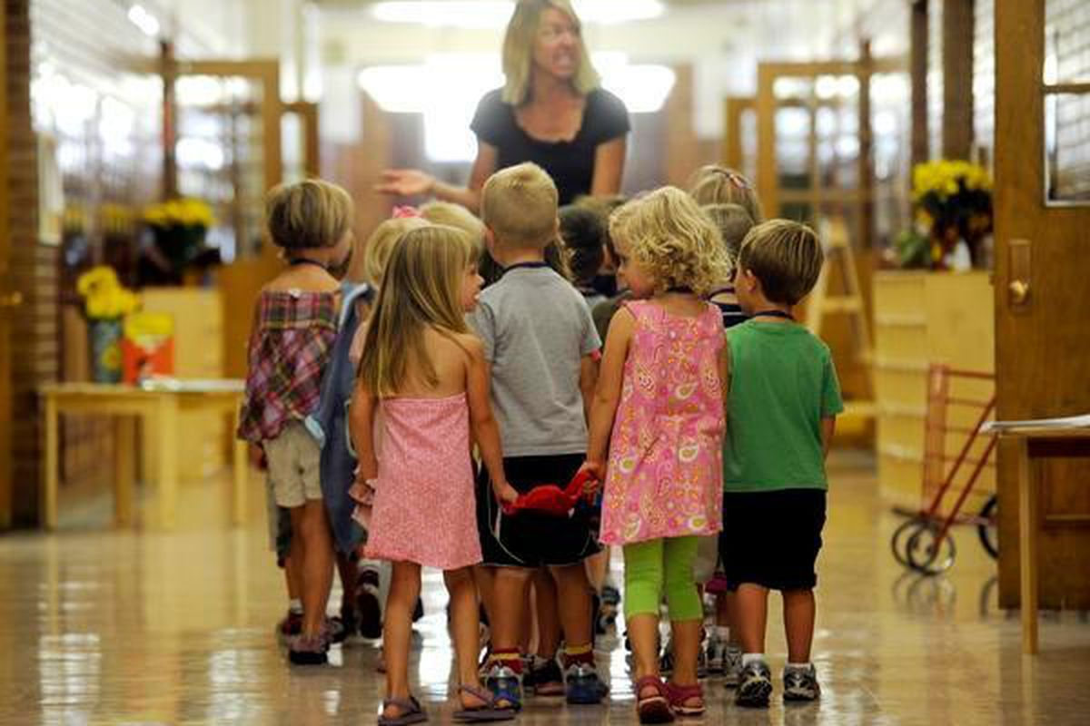 Students at Denver's Steck Elementary on the first day of school in 2011.