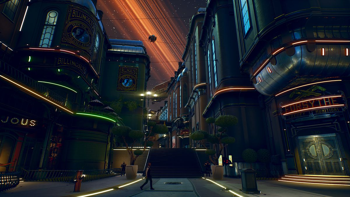 The mid-game cityscape of the Outer Worlds includes a dark ring system, dark corners, and heavily armed security.