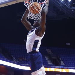 Amida Brimah finishes off the lob from Daniel Hamilton (not pictured).