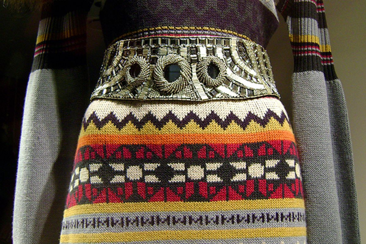 "Matthew Williamson's ""MW""-logo knit dress via <a href=""http://www.flickr.com/photos/jetsetcd/4158849936/in/pool-rackedny/"">jetsetcd</a>/Racked Flickr Pool"