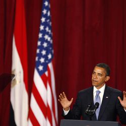 """FILE - In this June 4, 2009 file photo, U.S. President Barack Obama delivers a speech at Cairo University in Cairo, Egypt. In his speech, Obama called for a """"new beginning between the United States and Muslims,"""" declaring that """"this cycle of suspicion and discord must end."""" Recent images of angry mobs in Arab cities burning American flags and attacking U.S. diplomatic posts suggest the Muslim world is no less enraged at the United States than when President George W. Bush had to duck shoes hurled at him in Baghdad. But more than three years after Obama declared in Cairo that he would seek """"a new beginning"""" in U.S.-Muslim relations, a closer look reveals strides as well as setbacks."""
