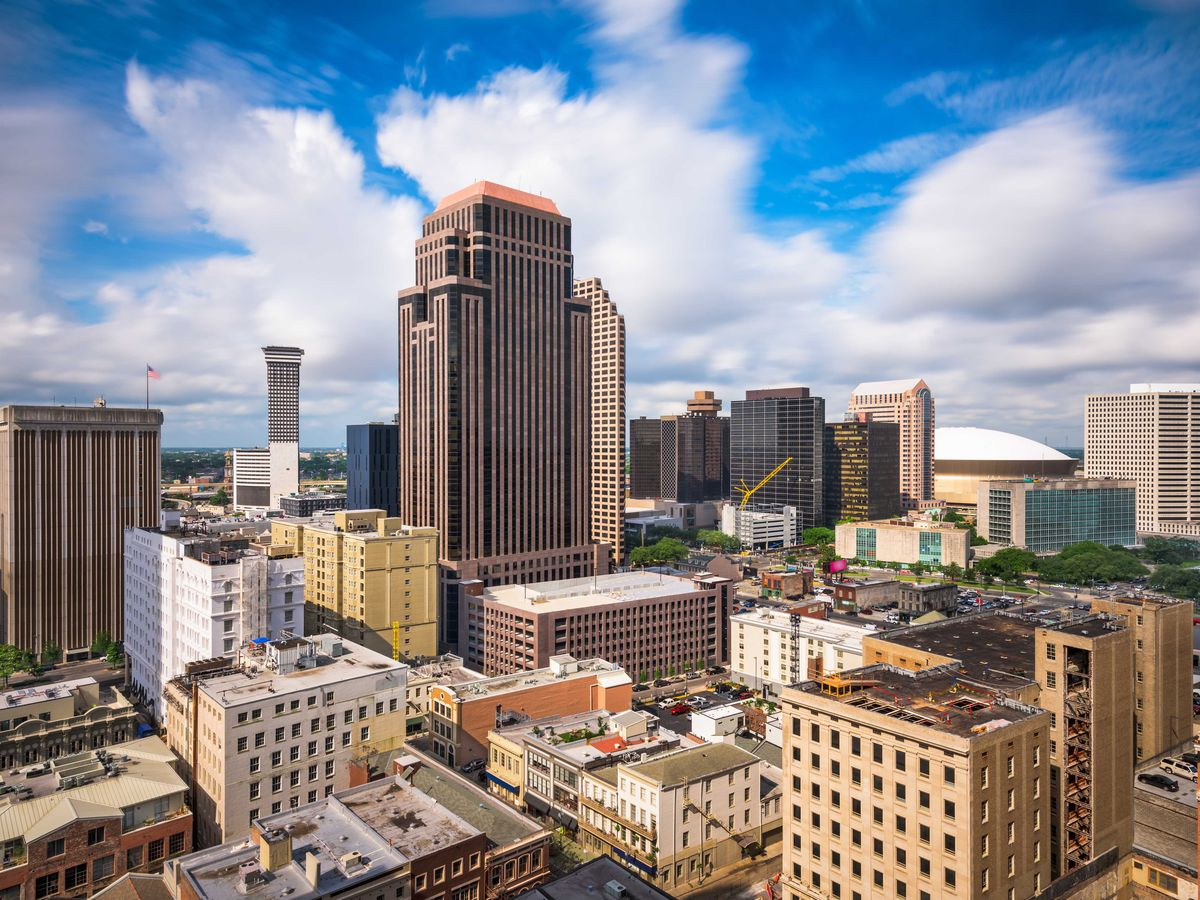 An aerial view of city buildings in New Orleans.