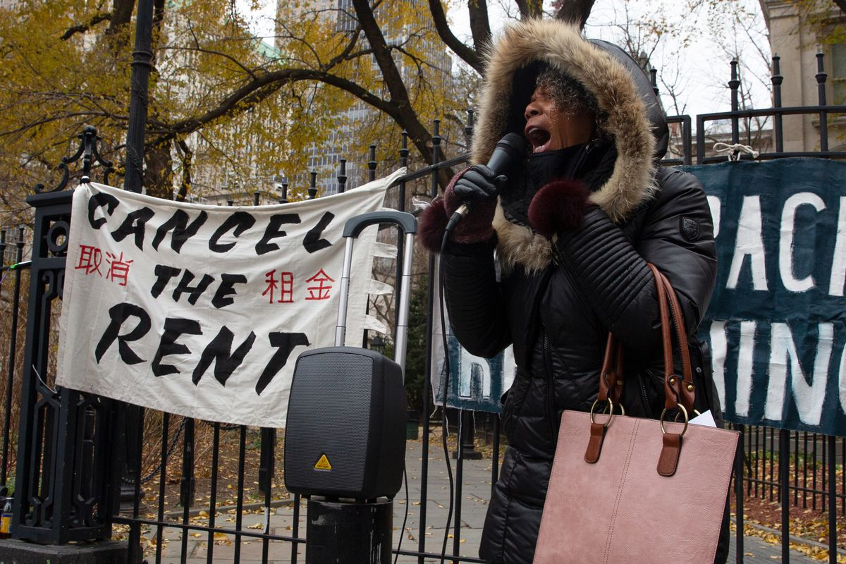 Community advocates protested rezoning and lack of support for tenants during a demonstration outside City Hall, Dec. 16, 2020.