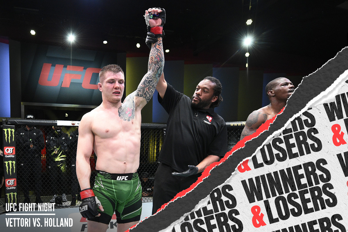 Marvin Vettori celebrates a decision win over Kevin Holland at UFC Vegas 23.