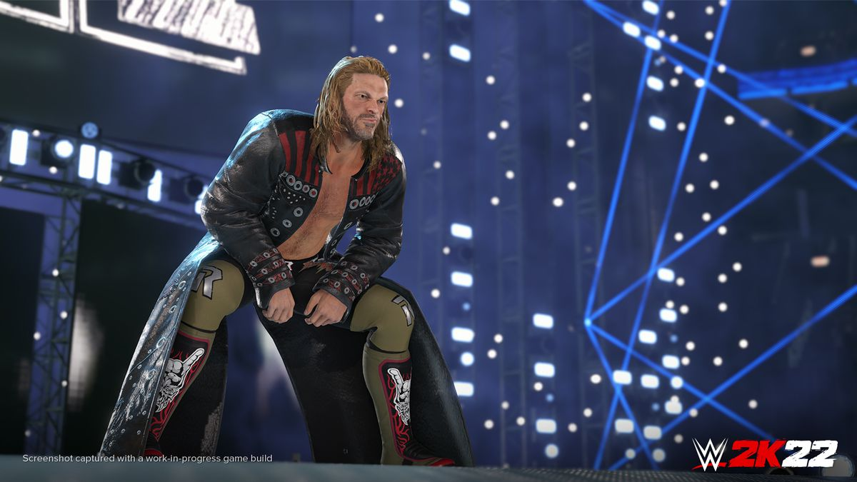 the pro rassler Edge squats on the stage during his entrance in WWE 2K22