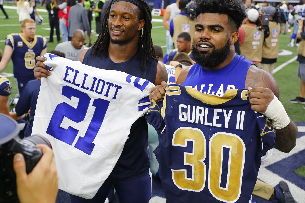 Los Angeles Rams RB Todd Gurley and Dallas Cowboys RB Ezekiel Elliott swap jerseys after the game between the two in Week 4, Oct. 1, 2017.