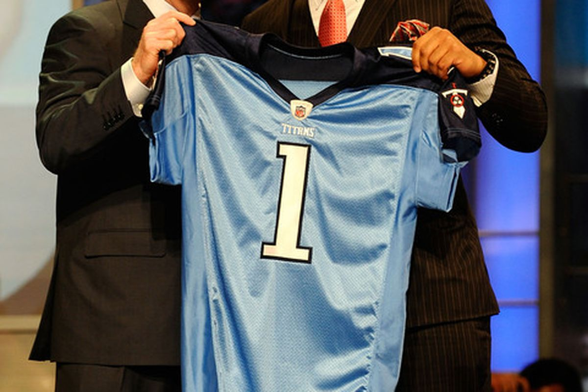 The 16th pick of 2010 NFL Draft is Derrick Morgan from the Georgia Institute of Technology.  (Photo by Jeff Zelevansky/Getty Images)