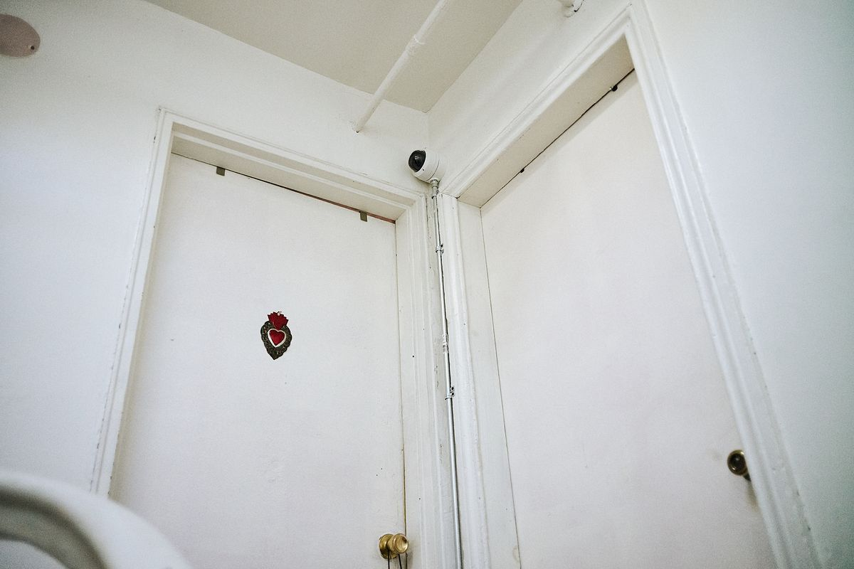 A recently installed surveillance camera in the hallway of 70 South Elliott Place in Fort Greene, Brooklyn, Sept. 11, 2020.