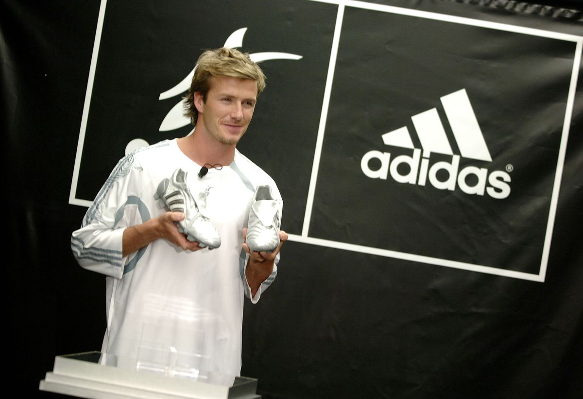 1b97dc977 Beckham unveiling a shoe he designed with Adidas, 2005. Photo: Jemal  Countess/WireImage/Getty Images