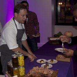 Range's Matt Hill prepares short rib ravioli with a  sweet potato puree.