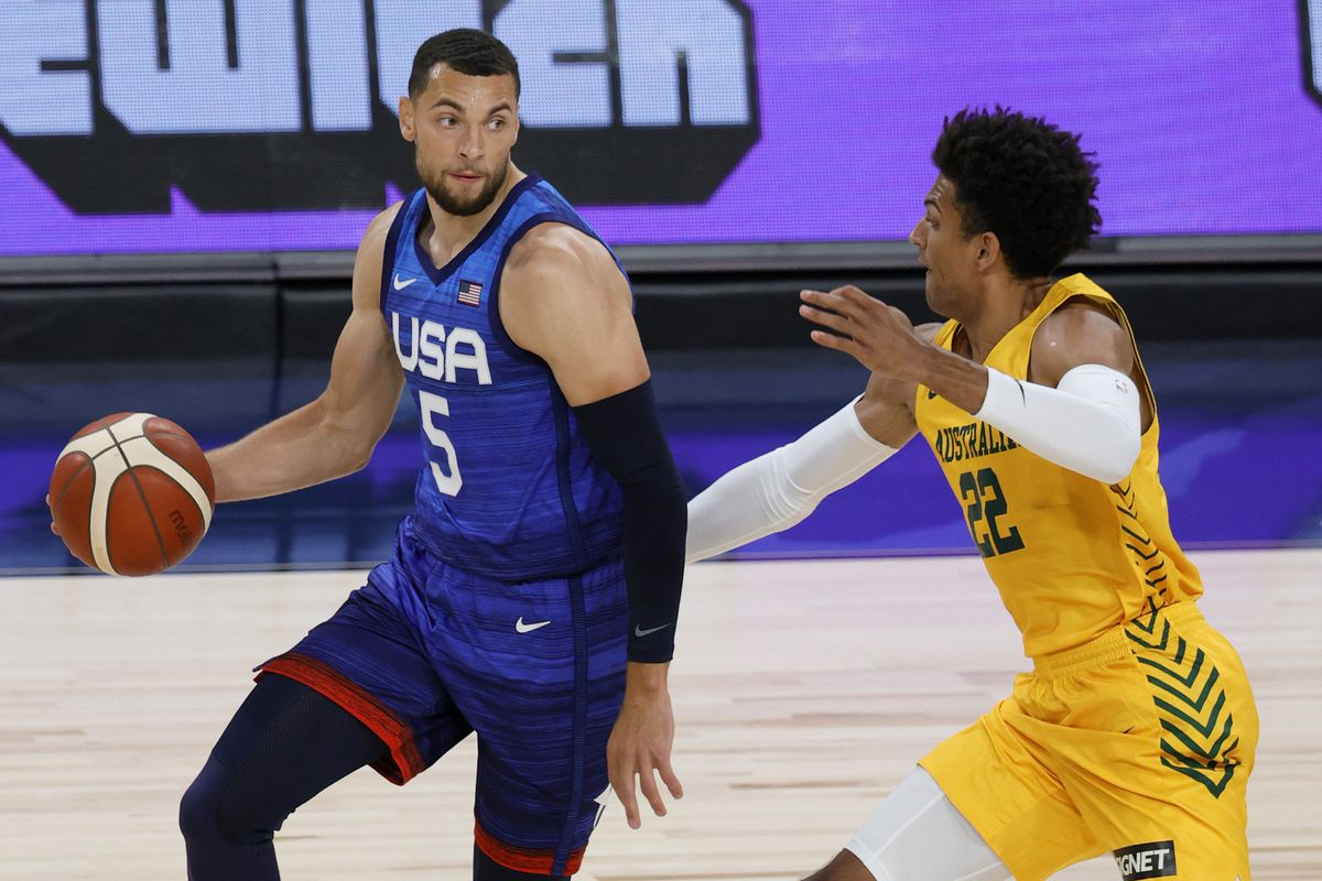 Zach LaVine is guarded by Matisse Thybulle of the Australia Boomers during an exhibition game July 12 in Las Vegas.