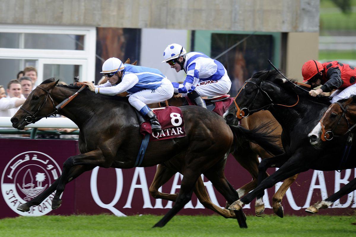 LONGCHAMP, FRANCE - OCTOBER 03: Olivier Peslier riding Goldikova (L) win The Qatar Prix De La Foret at the Hippodrome de Longchamp on October 03, 2010 in Paris, France (Photo by Alan Crowhurst/ Getty Images)