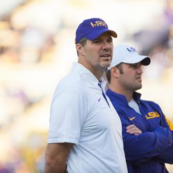 LSU offensive line coach Jeff Grimes coaches during a Tigers practice. Thursday morning, BYU announced that it has hired Grimes to become the Cougars' new offensive coordinator.