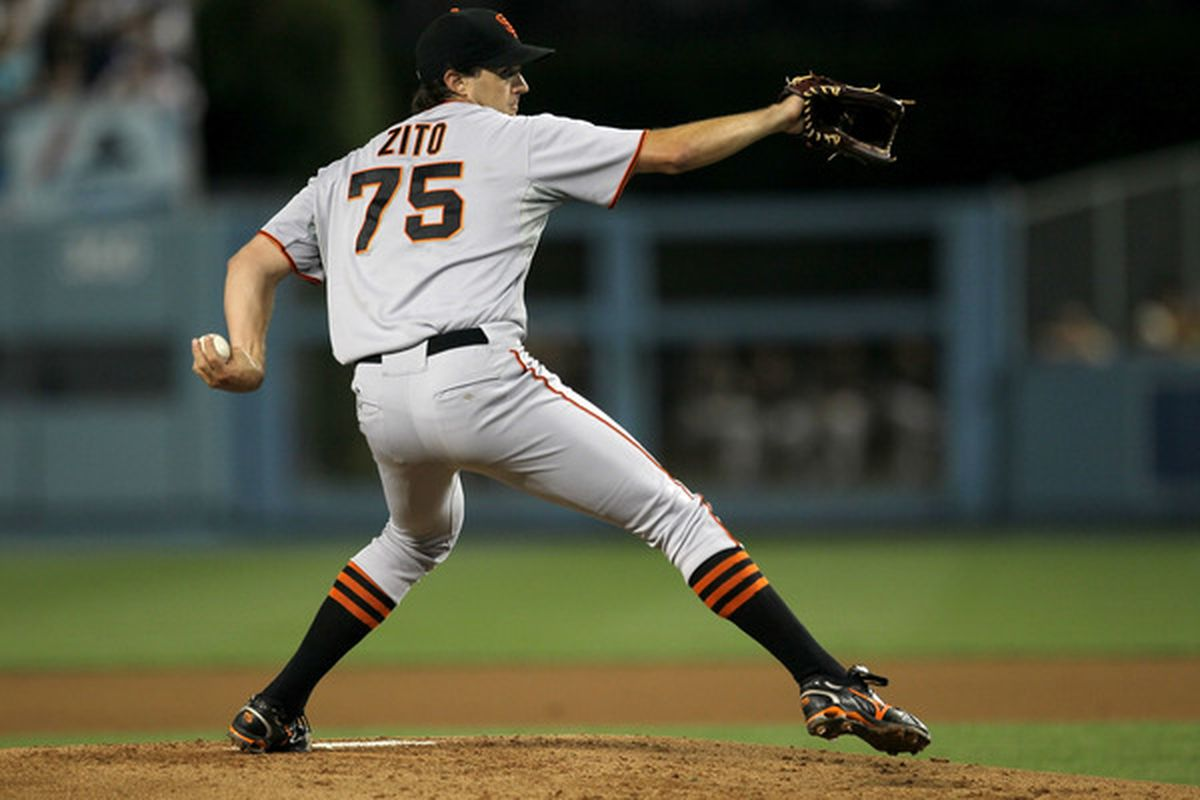 LOS ANGELES CA - SEPTEMBER 03:  Barry Zito #75 of the San Francisco Giants throws a pitch against the Los Angeles Dodgers on September 3 2010 at Dodger Stadium in Los Angeles California.  (Photo by Stephen Dunn/Getty Images)