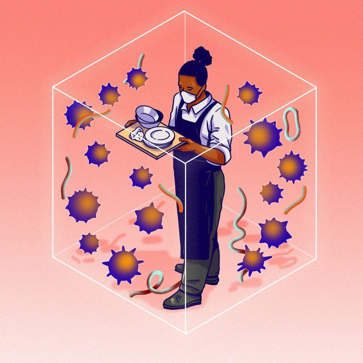 Le serveur portant un masque et portant un plateau est à l'intérieur d'un cube en plastique transparent, avec des particules de germe qui l'entourent.