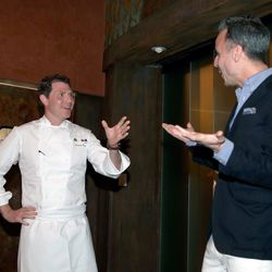 Bobby Flay and Bon Appetit's Adam Rapoport at the Master Series Dinner at Vegas Uncork'd. Photo: Isaac Brekken/Getty Images