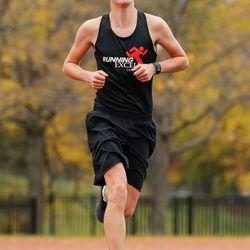 Lindblom's Brennan Taylor runs in the meet at River Park.