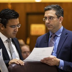 Ald. Scott Waguespack (32nd) chats with Ald. Byron Sigcho-Lopez (25th) and a staffer before the start of the Chicago City Council meeting at City Hall, Wednesday, May 29, 2019.