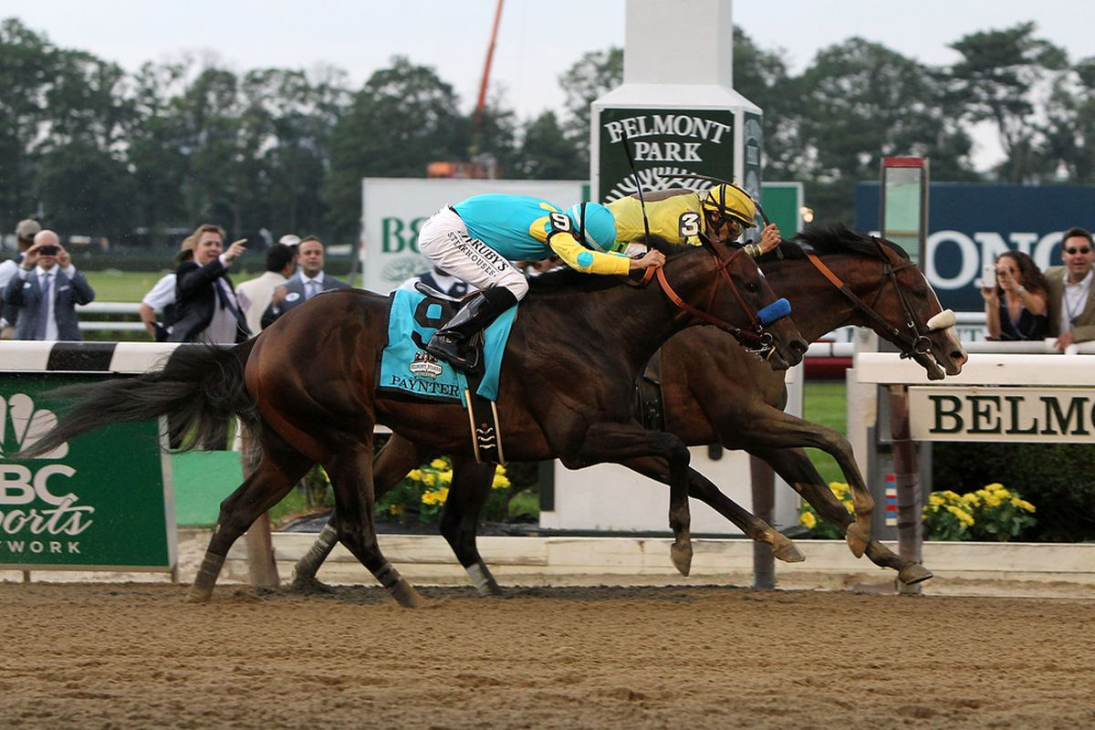 ELMONT, NY - JUNE 09: Paynter loses the Belmont Stakes at Belmont  June 9, 2012 to Union Rags. This picture may as well be of me setting a couple hundred bucks on fire.  (Photo by Alex Trautwig/Getty Images)