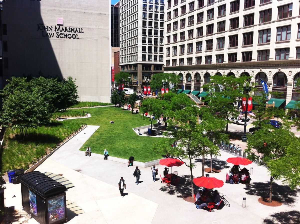 The City Seats initiative in 2010 created a space for people to enjoy the area. This is what Michael Edwards is hoping to see again with the new development. Provided by Chicago Loop Alliance.